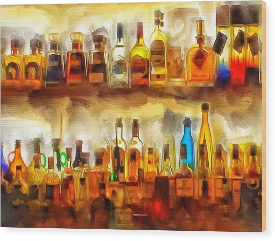 Tequila Bar At Aquila Restayrant Wood Print