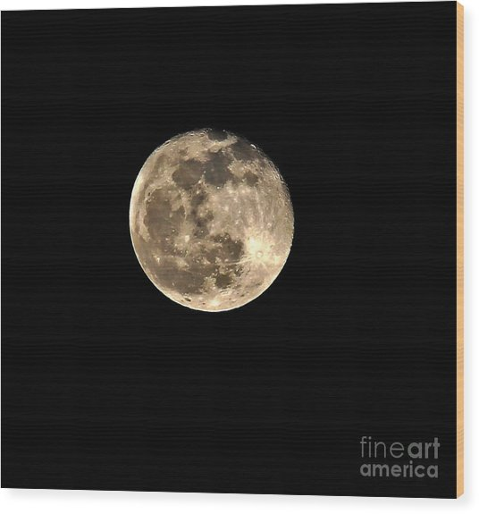 Teresa The Moon Wood Print by Kip Krause