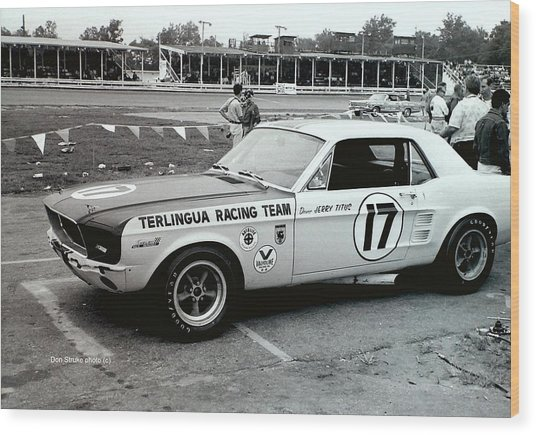Terlingua Mustang At Marlboro Trans Am Race 1967 Wood Print