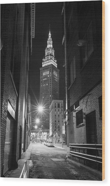 Terminal Tower From A Cleveland Alley Wood Print