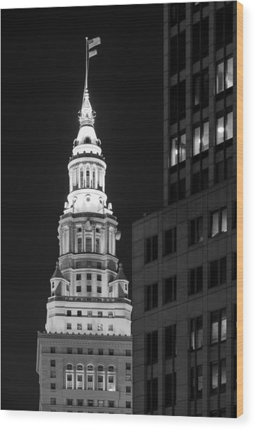 Terminal Tower In Black And White  Wood Print