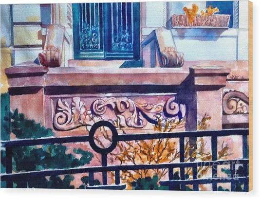 Terra Cotta And Iron Fence Wood Print