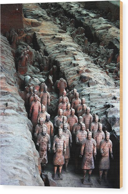 Terra Cotta Army Xiang China Wood Print by Jacqueline M Lewis