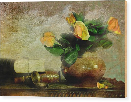 Terra Cotta Rose Wood Print