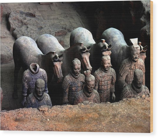 Terra Cotta Warriors Xiang China Wood Print by Jacqueline M Lewis