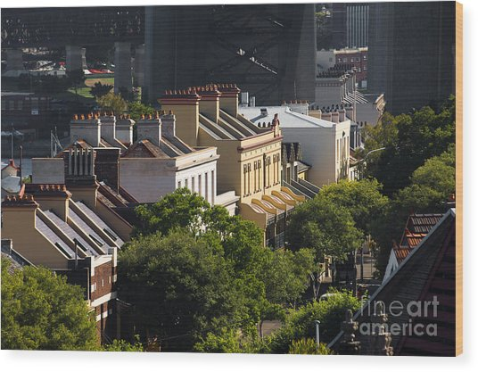 Terrace Houses In The Rocks Area Of Sydney Wood Print