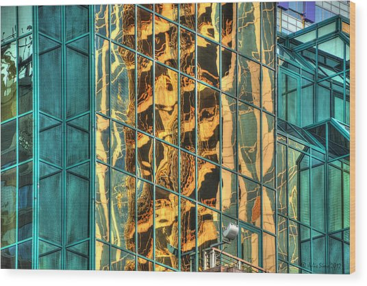 Terrific Warsaw Under Construction Glass Reflections Wood Print