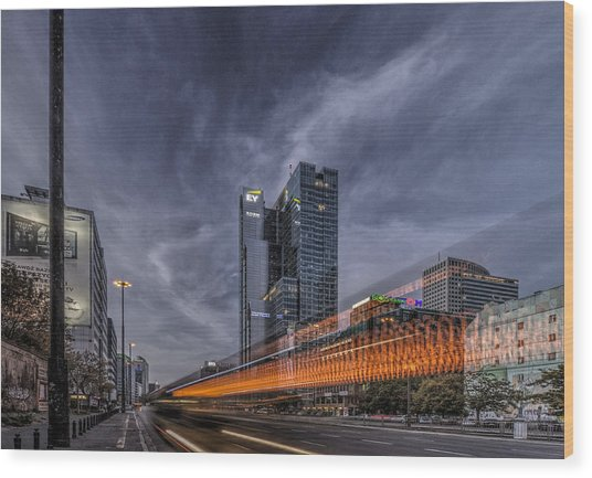 Terrific Warsaw With Zoom Perspective From Jerozolimskie To Rondo One Wood Print