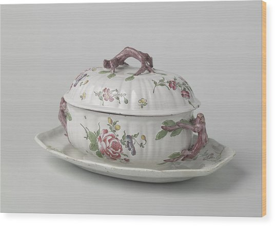 Terrine With Lid On Saucer, Painted With Flower Sprays Wood Print