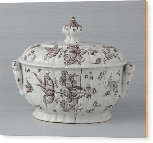 Terrine With Lid, Painted With Flower Sprays Wood Print