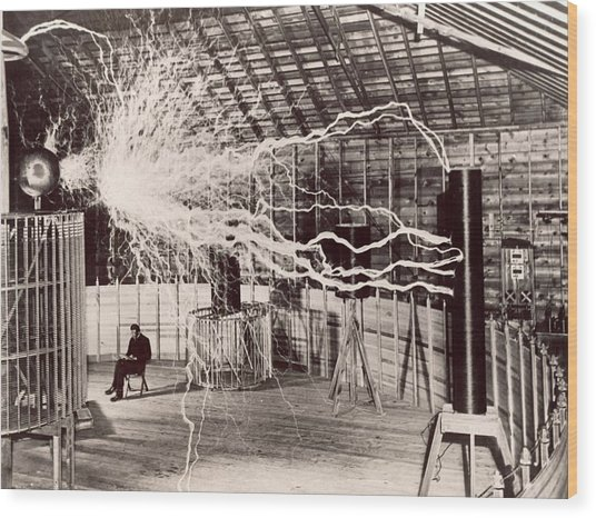 Tesla Coil Experiment Wood Print by Nikola Tesla Museum/science Photo Library