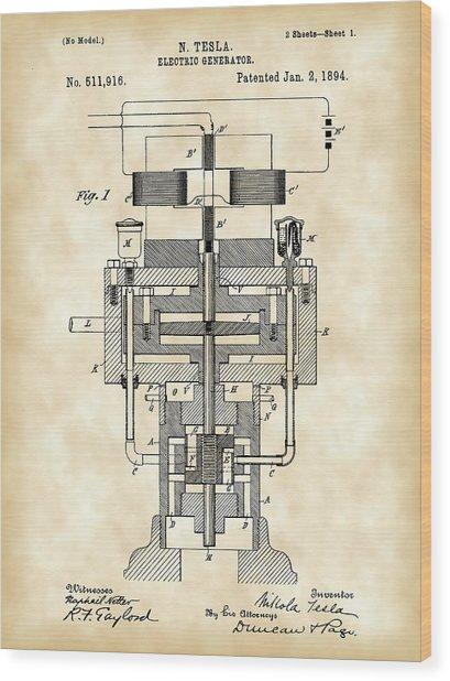 Tesla Electric Generator Patent 1894 - Vintage Wood Print