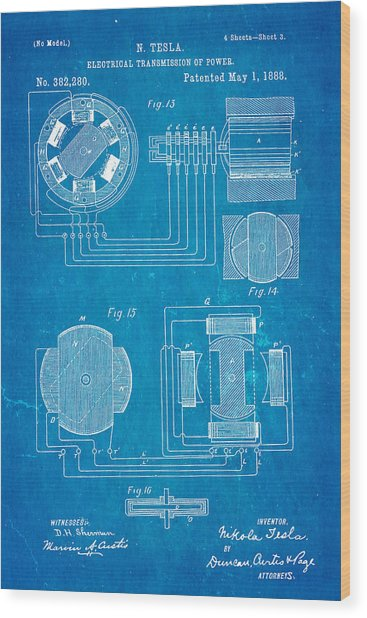 Tesla electrical transmission of power patent art 3 1888 blueprint tesla electrical transmission of power patent art 3 1888 blueprint wood print by ian monk malvernweather Choice Image