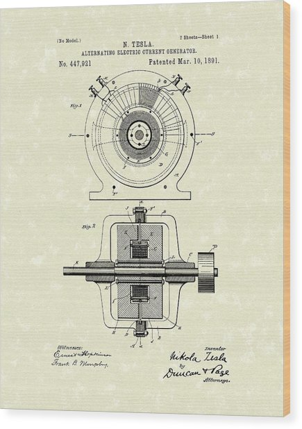 Tesla Generator 1891 Patent Art Wood Print