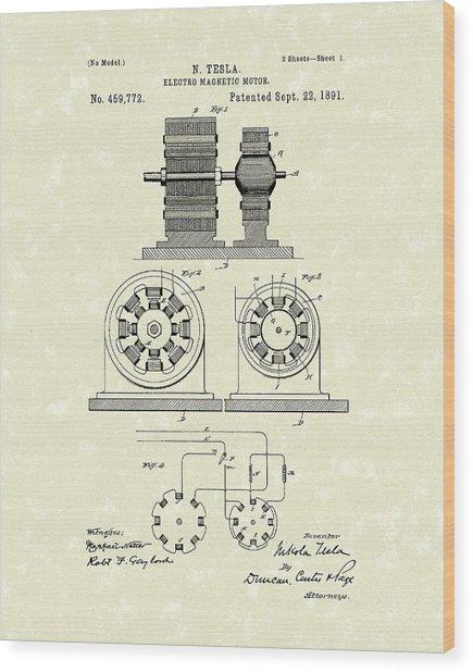 Tesla Motor 1891 Patent Art Wood Print