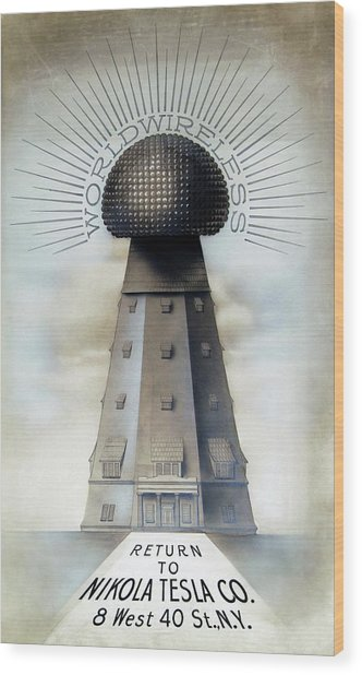 Tesla's Wardenclyffe Tower Laboratory Wood Print by Nikola Tesla Museum/science Photo Library