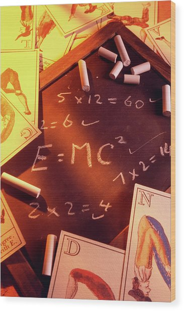 Test Answers Including E=mc2 On A Blackboard Wood Print by Tony Craddock/science Photo Library