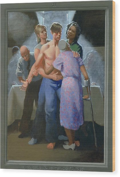 21. Jesus Appears To His Friends / From The Passion Of Christ - A Gay Vision Wood Print by Douglas Blanchard