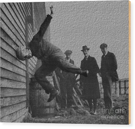 Testing Football Helmets In 1912 Ouchhhhh Wood Print