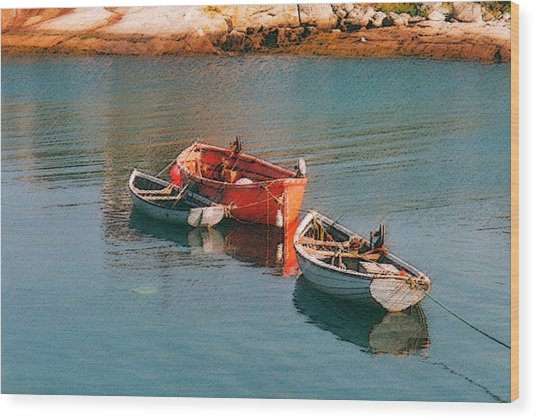 Tethered Rowboats Wood Print