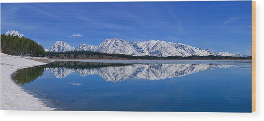 Teton End Of Winter Reflections Wood Print
