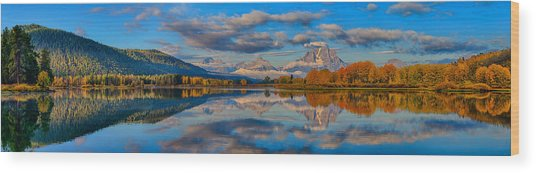 Teton Panoramic Reflections At Oxbow Bend Wood Print