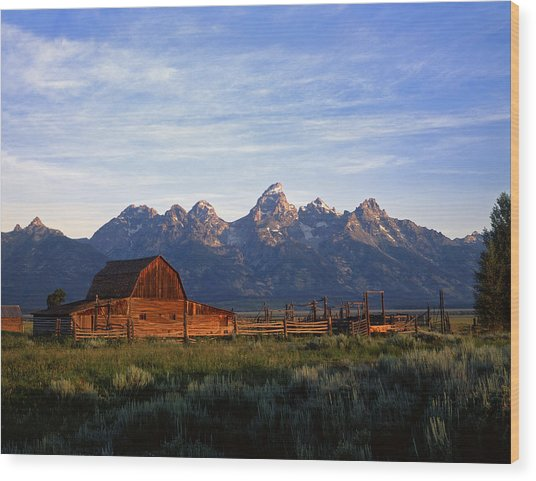 Teton Ranch Autumn Wood Print by Mike Norton