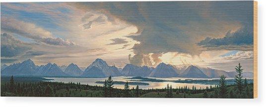 Teton Range From Signal Mountain Wood Print