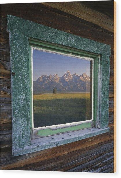 Teton Window Reflection Wood Print by Mike Norton