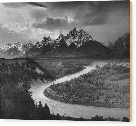 Tetons And The Snake River Wood Print