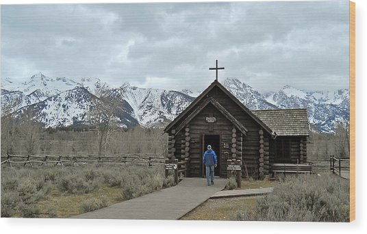 Tetons Chapel Of The Transfiguration Wood Print