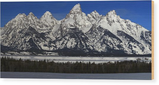 Tetons From Glacier View Overlook Wood Print