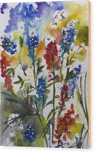Texas Blue Bonnets And Indian Paintbrush Watercolor Wood Print