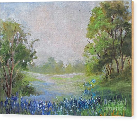Texas Blue Bonnets Wood Print