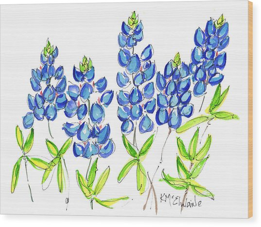 Texas Bluebonnets Watercolor Painting By Kmcelwaine Wood Print