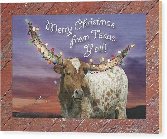 Texas Christmas Card Wood Print