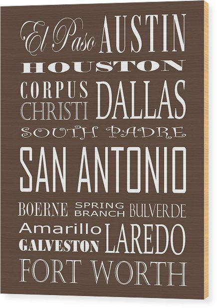 Texas Cities On Brown Wood Print