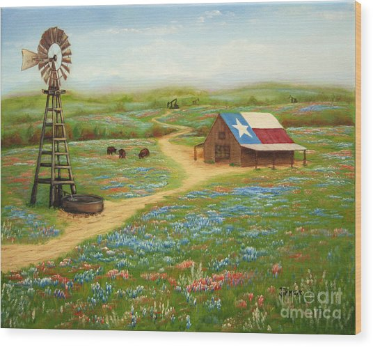 Texas Countryside Wood Print