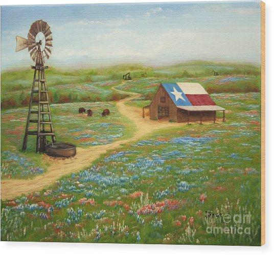 Texas Countryside Wood Print