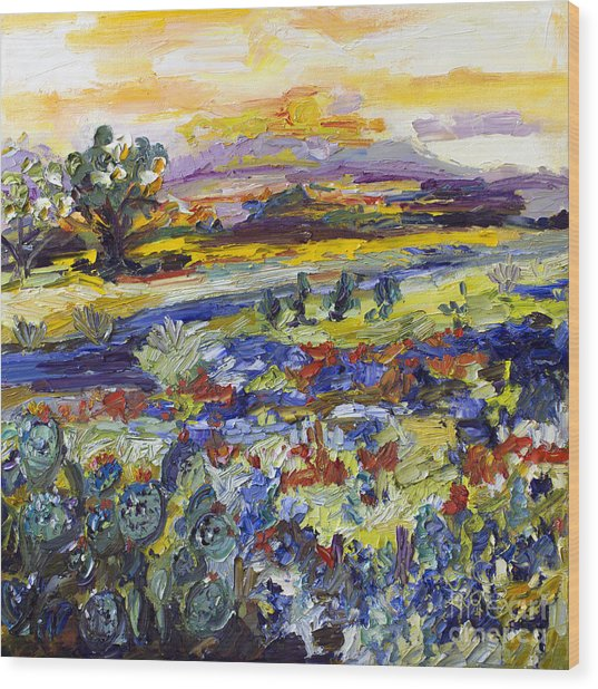 Texas Hill Country Bluebonnets And Indian Paintbrush Sunset Landscape Wood Print