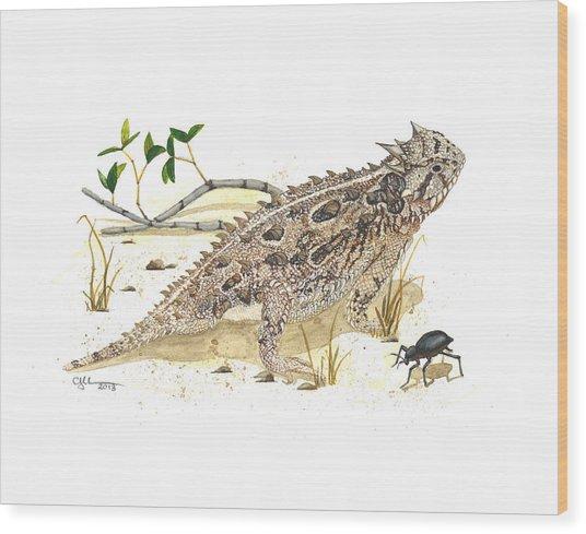 Texas Horned Lizard Wood Print