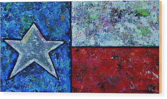 Texas In Color Wood Print