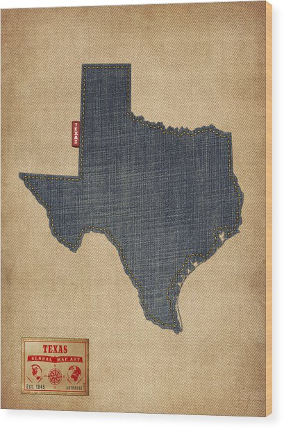 Texas Map Denim Jeans Style Wood Print