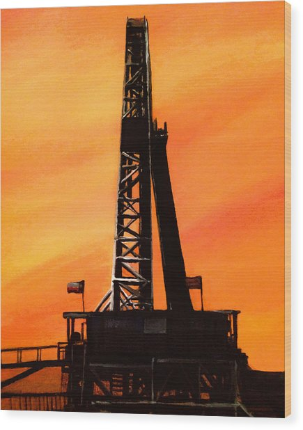 Texas Oil Rig Wood Print
