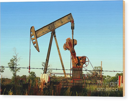 Texas Pumping Unit Wood Print