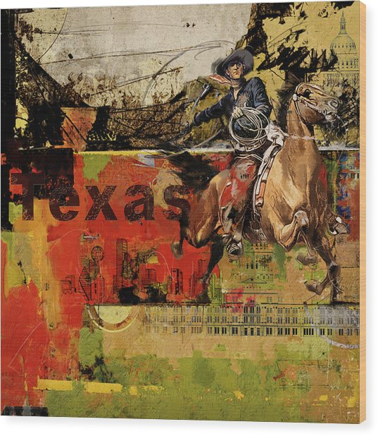 Texas Rodeo Wood Print