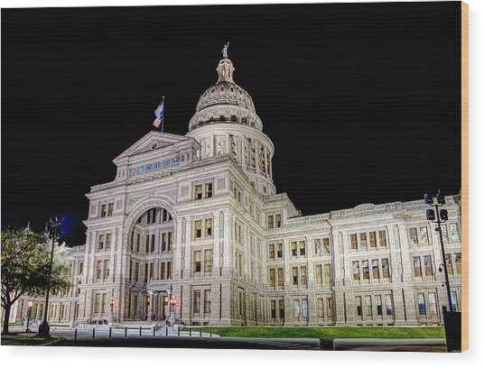 Texas State Capitol Wood Print
