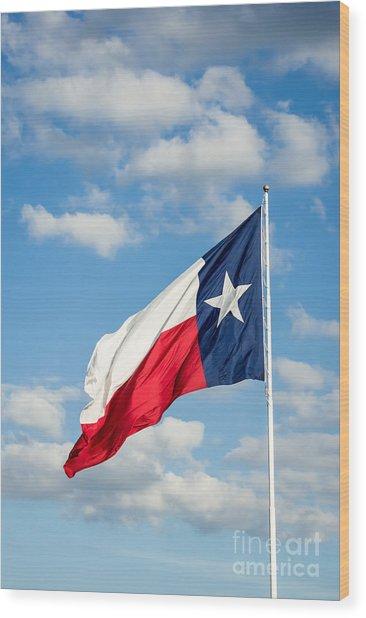 Texas State Flag Waving Wood Print