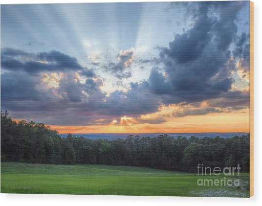 Texas Sunset As Seen From Louisiana Wood Print