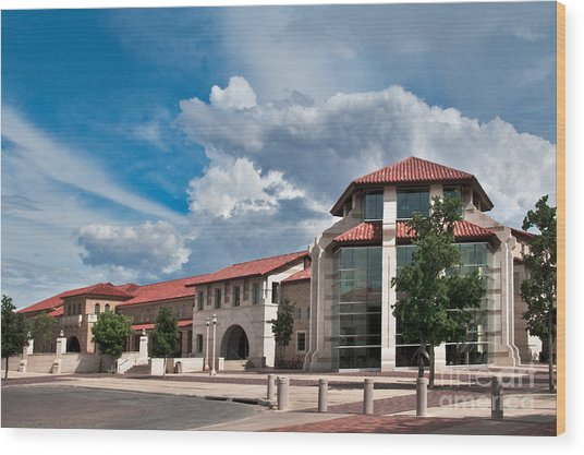 Wood Print featuring the photograph Texas Tech Student Union by Mae Wertz